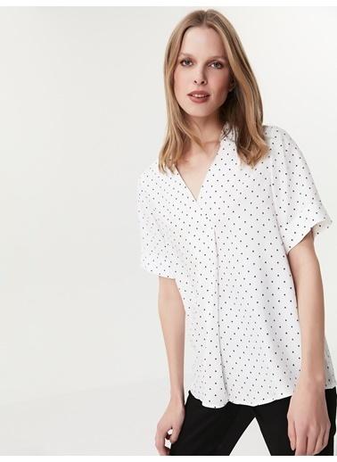 Ipekyol Double Kol Gömlek Yaka Bluz Beyaz